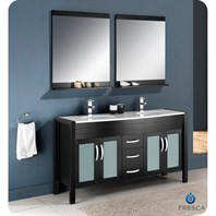 "Fresca Infinito 60"" Espresso Modern Double Sink Bathroom Vanity with Mirrors FVN5160ES"