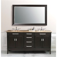 "Virtu USA Battista 72"" Double Sink Bathroom Vanity - Dark Espresso LD-2130"