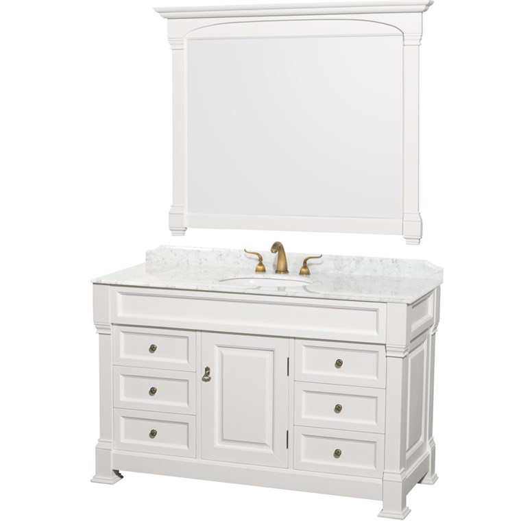 "Andover 55"" Traditional Bathroom Vanity Set by Wyndham Collection - White WC-TS55-WHT"
