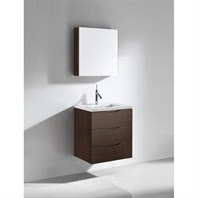 "Madeli Bolano 24"" Bathroom Vanity with Quartzstone Top - Walnut B100-24-002-WA-QUARTZ"