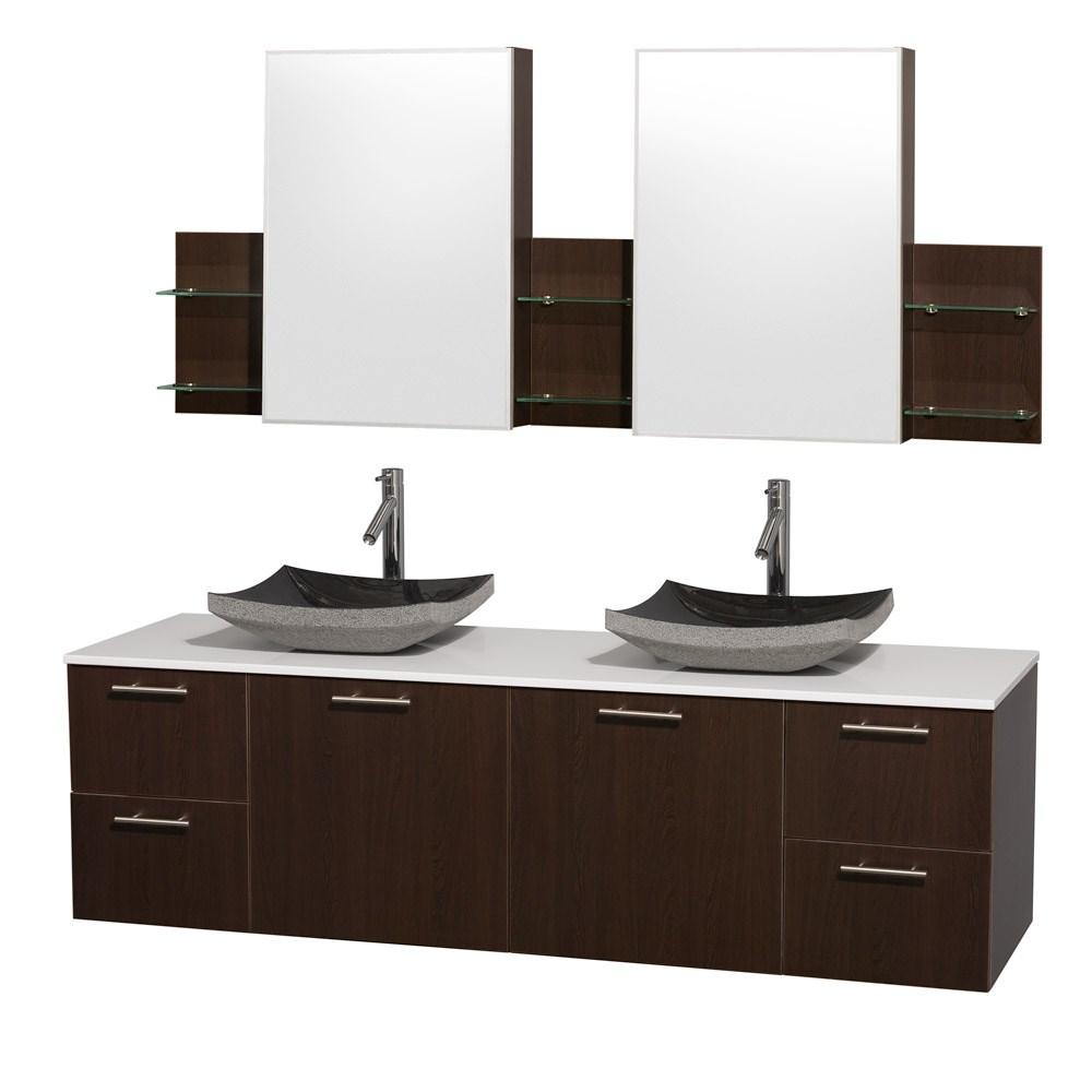 "Amare 72"" Wall-Mounted Double Bathroom Vanity Set with Vessel Sinks by Wyndham Collection - Espressonohtin Sale $1499.00 SKU: WC-R4100-72-VAN-ESP-DBL :"