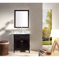 "Ariel Kensington 31"" Single Sink Vanity Set with Carrera White Marble Countertop - Espresso D031S-ESP"