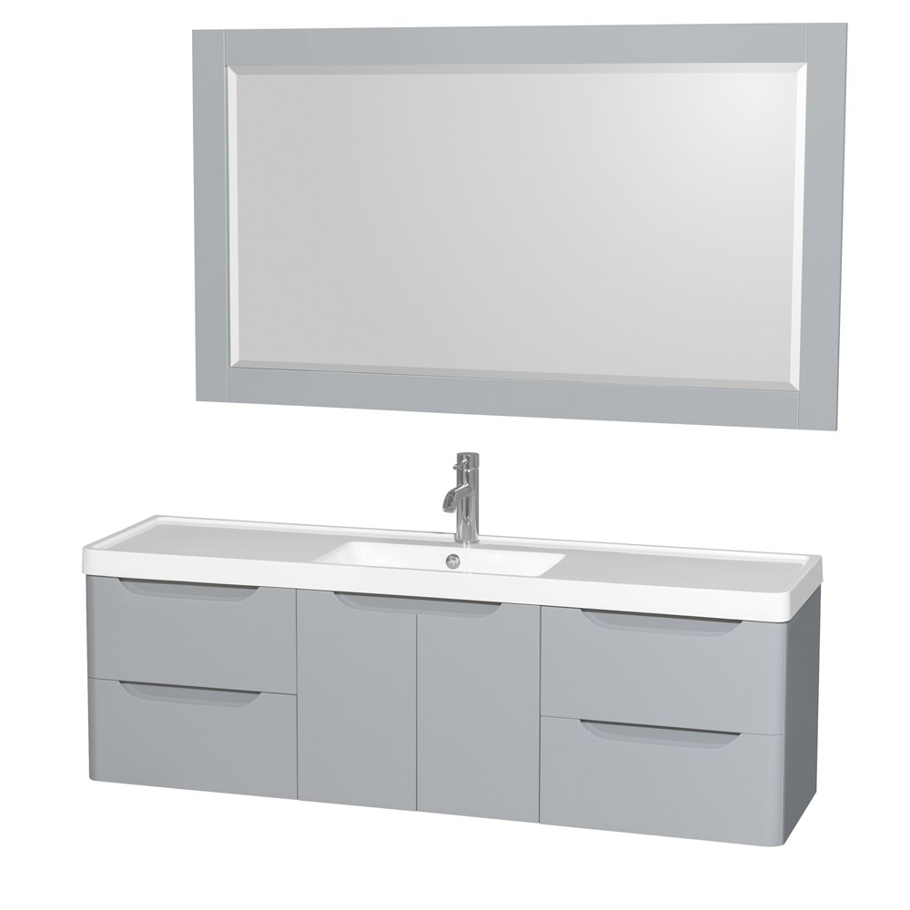 "Murano 60"" Wall-Mounted Bathroom Vanity Set with Integrated Sink by Wyndham Collection - Gray WC-7777-60-SGL-VAN-GRY"