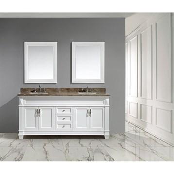 """Design Element Hudson 72"""" Double Sink Vanity Set, White DEC059D-W by Design Element"""