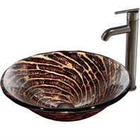 VIGO Chocolate Caramel Swirl Glass Vessel Sink and Faucet Set in Oil Rubbed Bronze VGT168