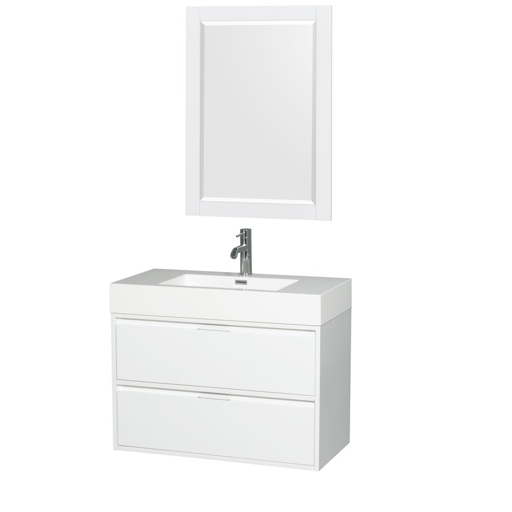 Daniella 36 Wall Mounted Bathroom Vanity Set With Integrated Sink