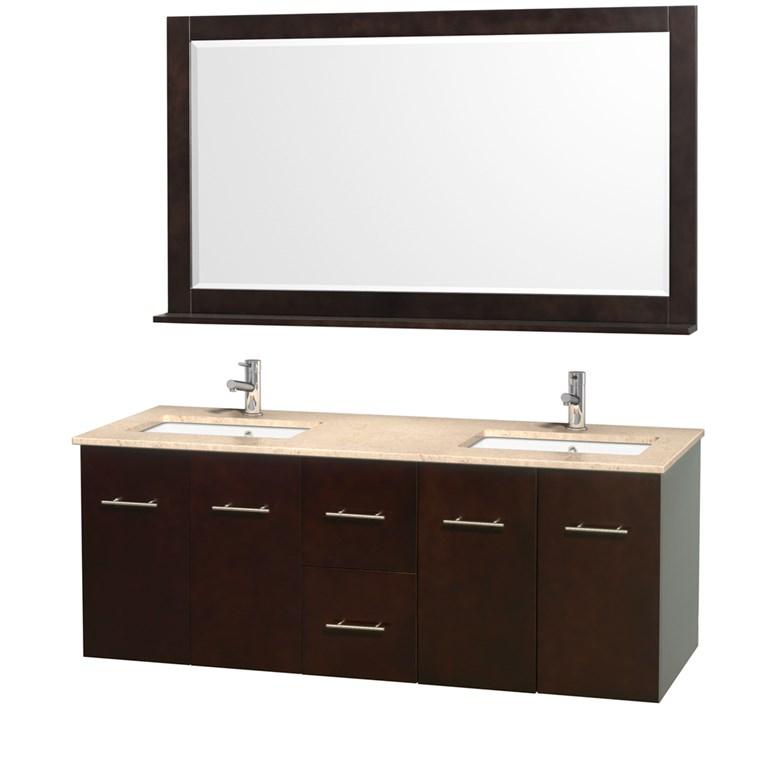 "Centra 60"" Double Bathroom Vanity for Undermount Sinks by Wyndham Collection - Espresso WC-WHE009-60-DBL-VAN-ESP-"