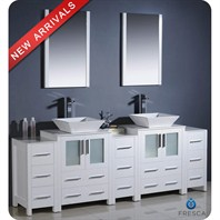 "Fresca Torino 84"" White Modern Double Sink Bathroom Vanity with 3 Side Cabinets & Vessel Sinks FVN62-72WH-VSL"