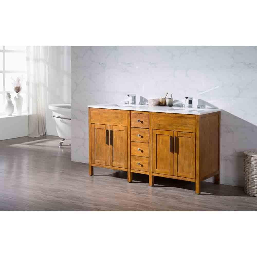 "Stufurhome Evangeline 59"" Double Sink Bathroom Vanity with White Quartz Top - Natural Wood | Free Shipping - Modern Bathroom"
