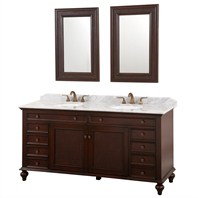 "English Cane 72"" Double Vanity Set - Wenge w/White Marble Counter"