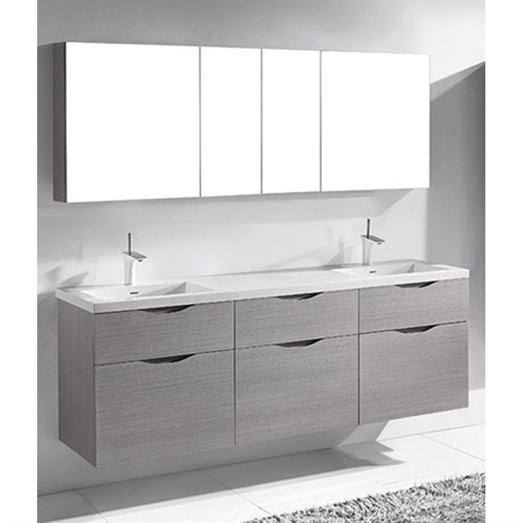 "Madeli Bolano 72"" Double Bathroom Vanity for Integrated Basin - Ash Grey B100-72D-022-AG"