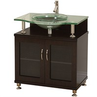 "Charlton 30"" Bathroom Vanity - Doors Only - Espresso w/ Clear or Frosted Glass Countertop"
