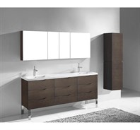"Madeli Milano 72"" Double Bathroom Vanity for X-Stone Integrated Basins - Walnut B200-72-002-WA-XSTONE"