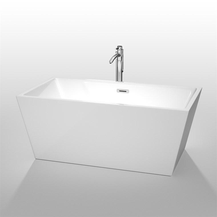 "Sara 59"" Soaking Bathtub by Wyndham Collection - White WC-BTM1514-59"