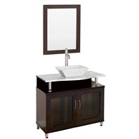 "Accara 36"" Bathroom Vanity - Doors Only - Espresso w/ White Carrera Marble Counter B706-36-DR-ESP-WHTCAR"