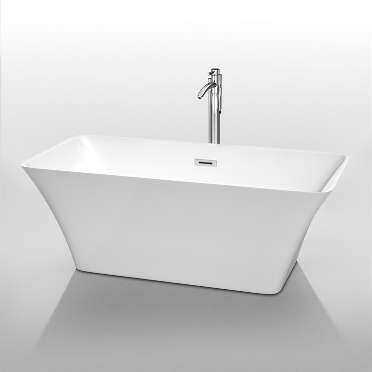 "Tiffany 59"" Small Soaking Bathtub by Wyndham Collection - White WC-BTE1504-59"
