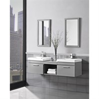 "Fairmont Designs Metropolitan 60"" Modular Wall Mount Double Vanity and Sinks - Glossy Light Gray 179-WV21-X2,WB1818"