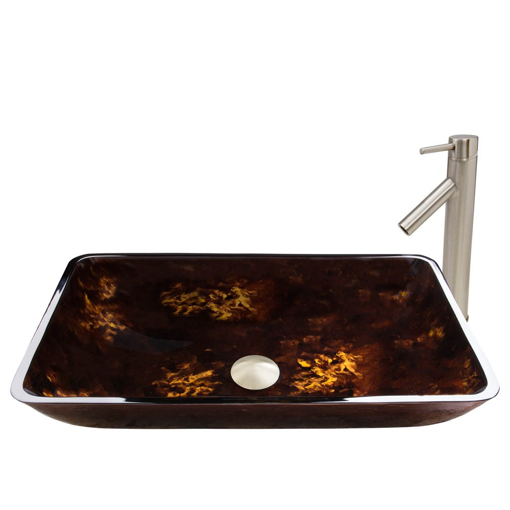 VIGO Rectangular Brown and Gold Fusion Glass Vessel Sink and Dior Faucet Setnohtin Sale $235.90 SKU: VGT475- :
