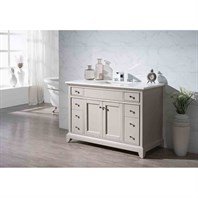 "Stufurhome Arianny 49"" Single Sink Bathroom Vanity with White Quartz Top - Taupe TY-7340-49-QZ"