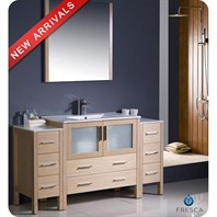"Fresca Torino 60"" Light Oak Modern Bathroom Vanity with 2 Side Cabinets, Integrated Sink, and Mirror FVN62-123612LO-UNS"