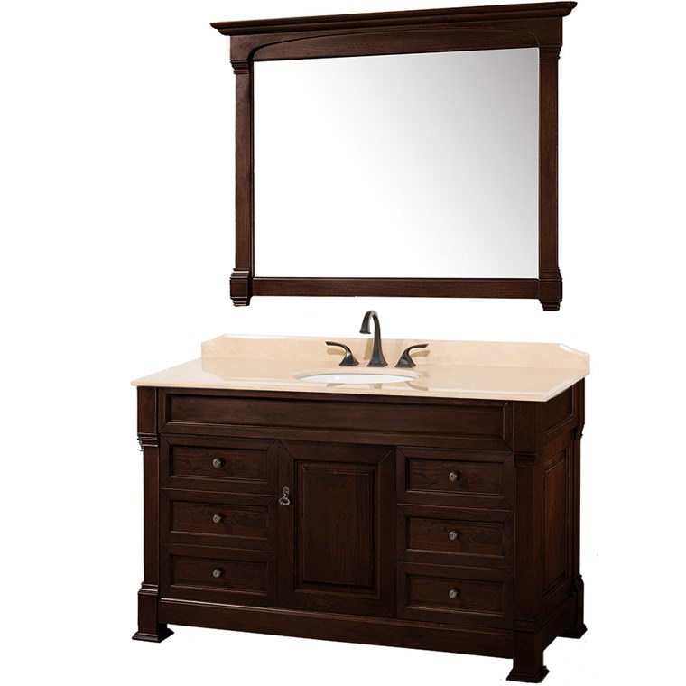 "Andover 55"" Traditional Bathroom Vanity Set by Wyndham Collection - Dark Cherry WC-TS55-DKCH"