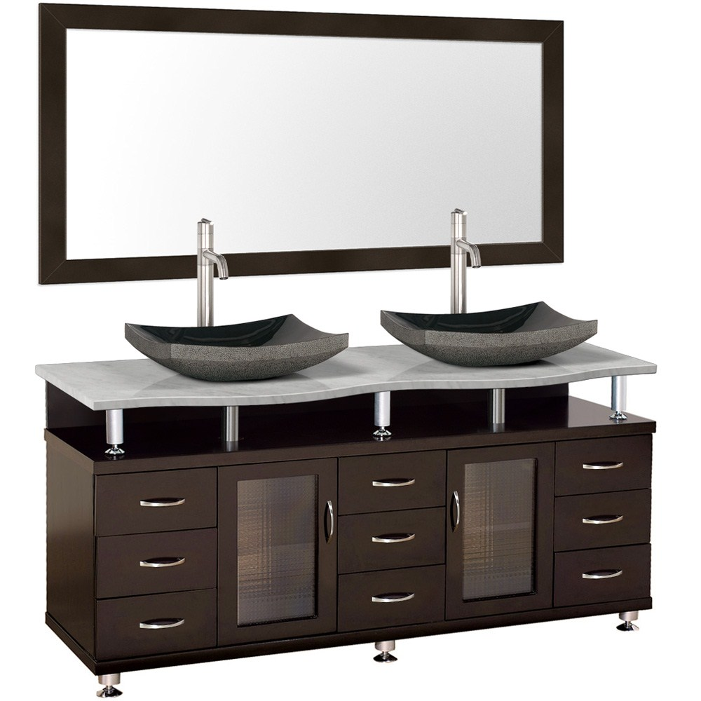 Double Espresso Bathroom Vanity with Mirror and Marble Counter, Black Granite Sinks