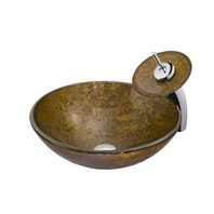 Vigo Textured Copper Vessel Sink and Waterfall Faucet Set VGT018