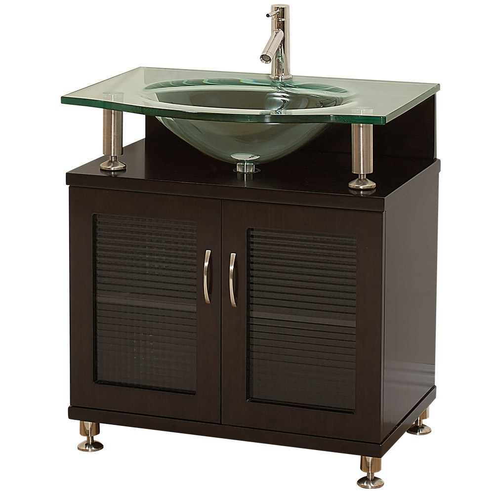 """Accara 30"""" Bathroom Vanity - Doors Only - Espresso W/ Clear Or Frosted Glass Countertop"""