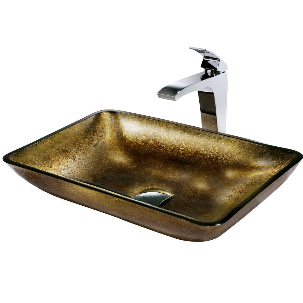 VIGO Rectangular Copper Glass Vessel Sink and Faucet Set in Chromenohtin Sale $239.90 SKU: VGT156 :