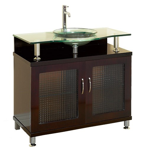 "Charlton 36"" Bathroom Vanity - Doors Only - Espresso w/ Clear or Frosted Glass Countertop"