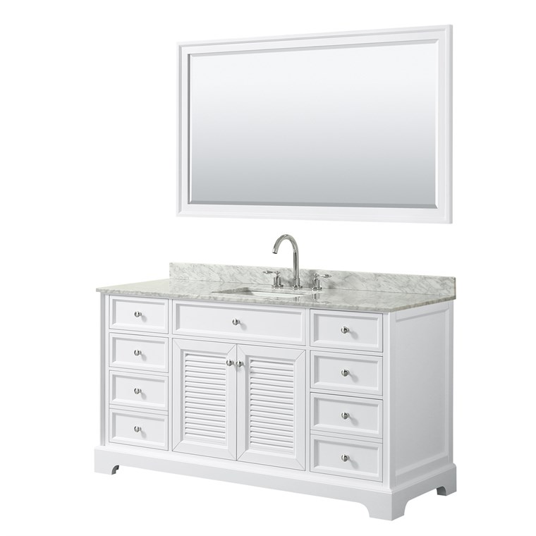 "Tamara 60"" Single Bathroom Vanity by Wyndham Collection - White WC-2121-60-SGL-VAN-WHT"