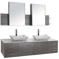 "Bianca 72"" Wall-Mounted Double Bathroom Vanity - Grey Oak Finish with White Carrera Marble Countertop WHE007-72-GROAK-WHTCAR"