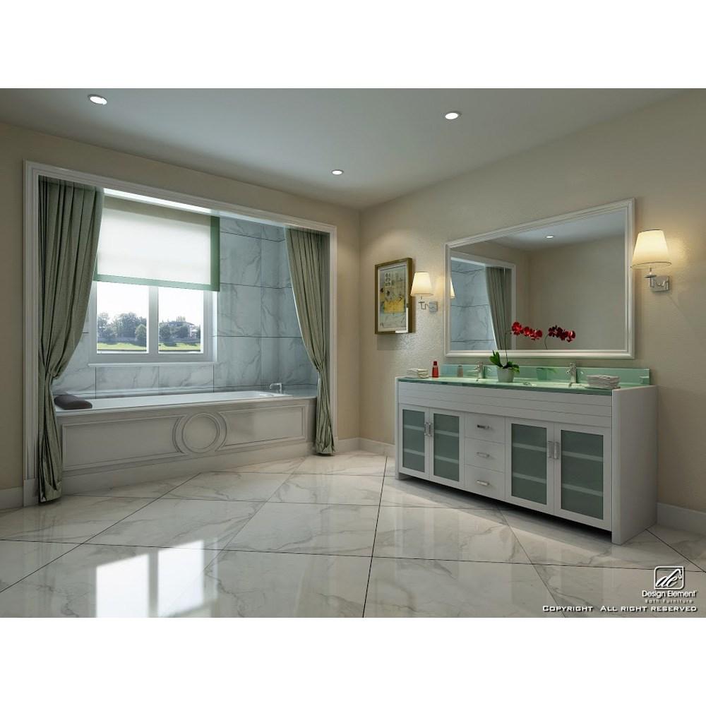 "Design Element Waterfall 72"" Double Sink Vanity Set - Whitenohtin Sale $1599.00 SKU: DEC016B-W :"