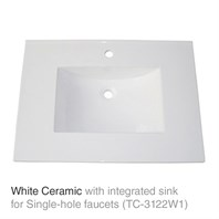 "31"" White Top with integrated sink - Ceramic (For 1-Hole Faucets) TC-3122W1"