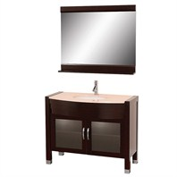 "Daytona   42"" Bathroom Vanity with Mirror - Espresso w/ Ivory Marble Counter"