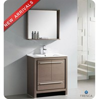 "Fresca Allier 30"" Gray Oak Modern Bathroom Vanity with Mirror FVN8130GO"