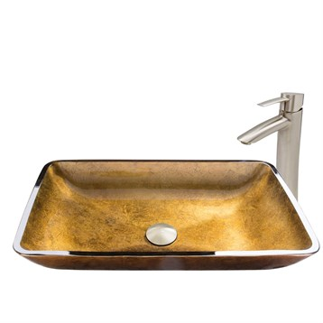 Vigo Rectangular Copper Glass Vessel Sink and Shadow Faucet Set in Brushed Nickel Finish VGT514 by Vigo Industries