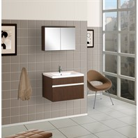 "Bath Authority DreamLine 24"" Wall-Mounted Modern Bathroom Vanity - w/ Porcelain Counter and Medicine Cabinet - Wenge DLVRB-103-WG"