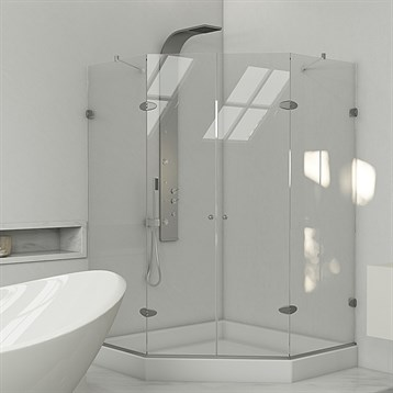 "Vigo Frameless Neo-Angle Double Door Shower Enclosure with Base, 42"" x 42"" VG6063CHCL42W by Vigo Industries"