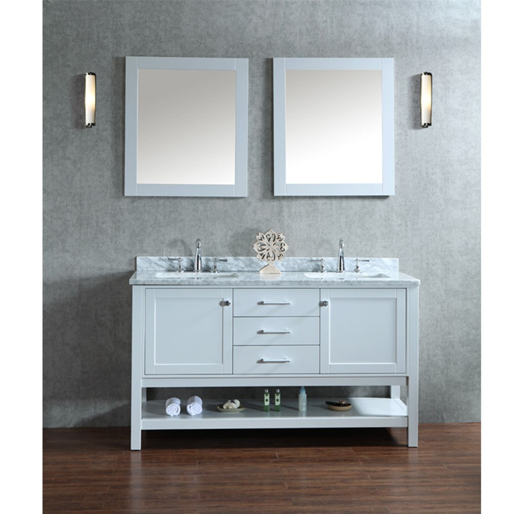 "Seacliff by Ariel Bayhill 60"" Double Sink Vanity Set with Carrera White Marble Countertop - Cloud Grey SC-BAY-60-SCG"