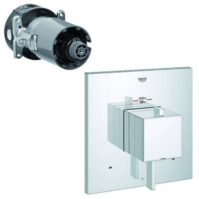 Grohe GrohFlex Cosmo Square Dual Function Thermostatic Trim with Control Module - Starlight Chrome GRO 19927000