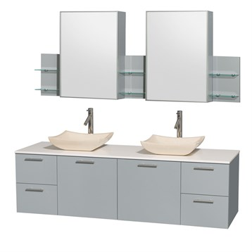 """Amare 72"""" Wall-Mounted Double Bathroom Vanity Set with Vessel Sinks by Wyndham Collection, Dove Gray... by Wyndham Collection®"""