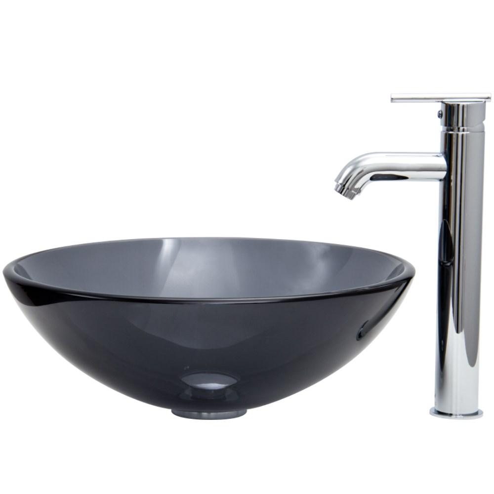 VIGO Sheer Black Glass Vessel Sink and Tall Faucet Set in Chromenohtin Sale $199.90 SKU: VGT256 :