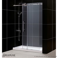 "Bath Authority DreamLine Enigma-X Fully Frameless Sliding Shower and SlimLine Single Threshold Shower Base (34"" by 60"") DL-6622"