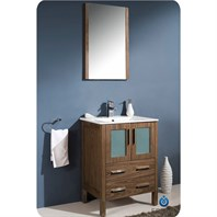 "Fresca Torino 24"" Walnut Brown Modern Bathroom Vanity with Integrated Sink FVN6224WB-UNS"
