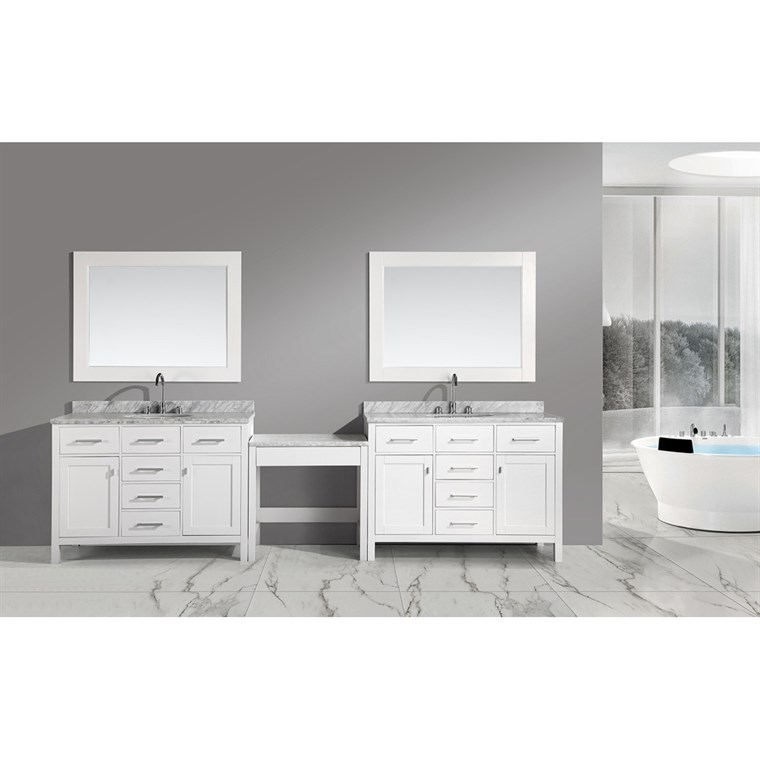 "Design Element London Two 48"" Vanities with a Make-up Table - White DEC076C-WX2_MUT-W"