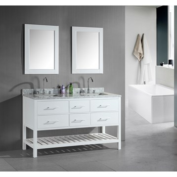 """Design Element London 61"""" Double Vanity with Open Bottom, White Carrera Countertop, Sinks and Mirrors, Pearl White... by Design Element"""
