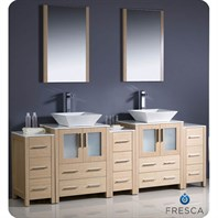 "Fresca Torino 84"" Light Oak Modern Double Sink Bathroom Vanity with 3 Side Cabinets, Vessel Sinks, and Mirrors FVN62-72LO-VSL"