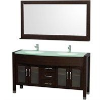 "Daytona 60"" Double Bathroom Vanity with Mirror by Wyndham Collection - Espresso WC-A-W2200-60-ESP"