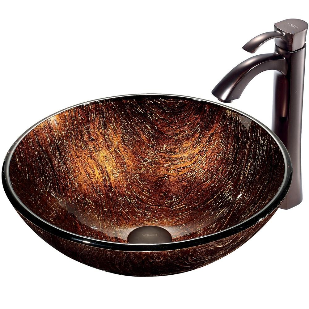 VIGO Kenyan Twilight Glass Vessel Sink and Faucet Set in Oil Rubbed Bronzenohtin Sale $269.90 SKU: VGT197 :